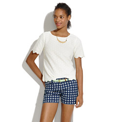 Denim Cutoff Shorts in Graphic Grid