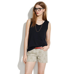 Denim Cutoff Shorts in Safari Dot