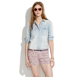 Denim Cutoff Shorts in Flora