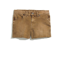 Denim Cutoff Shorts in Kraft Brown