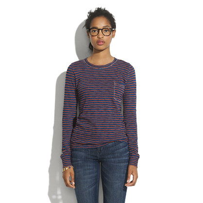 Long-Sleeve Indigo Ink Striped Tee