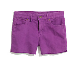 Denim Cutoff Shorts in Bright Hyacinth