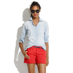 Denim Cutoff Shorts in Scarborough Red