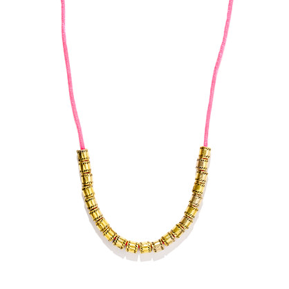 Vanessa Mooney Pink-Gold Cylinder Firefly Necklace