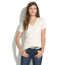 V-Neck Pocket Tee in Color Fleck