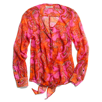 Silk Tie Blouse in Paisley