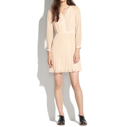 Pleated Sheer-Sleeve Dress