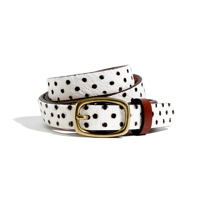 Calf Hair Polka-Dot Belt
