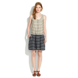 Drop-Waist Dress in Trellis Stripe