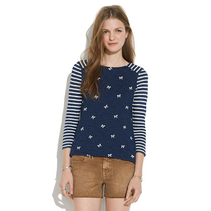 Indigo Ink Top in Bows & Stripes