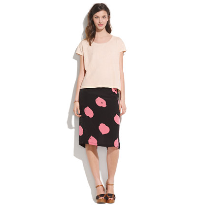 Something Else by Natalie Wood Leaf Heart-Print Straight Skirt