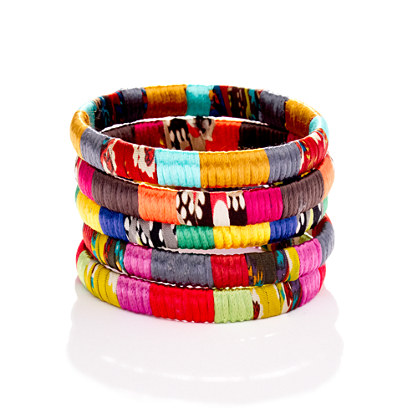 Cara Accessories™ Mixed-Fabric Bangle
